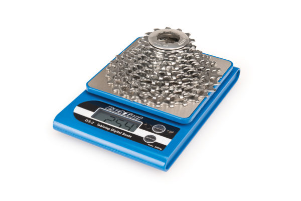 The Park Tool DS-2 Tabletop Digital Scale with chain on top, click to enlarge