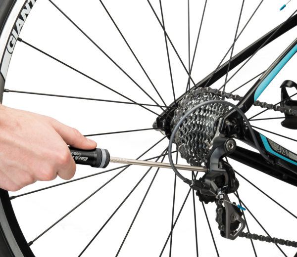 The Park Tool DSD-2 Derailleur Screwdriver adjusting limit screw on rear derailleur, click to enlarge