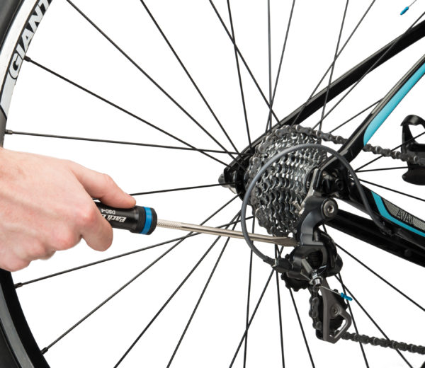 The Park Tool DSD-4 Derailleur Screwdriver adjusting limit screw on rear derailleur, click to enlarge