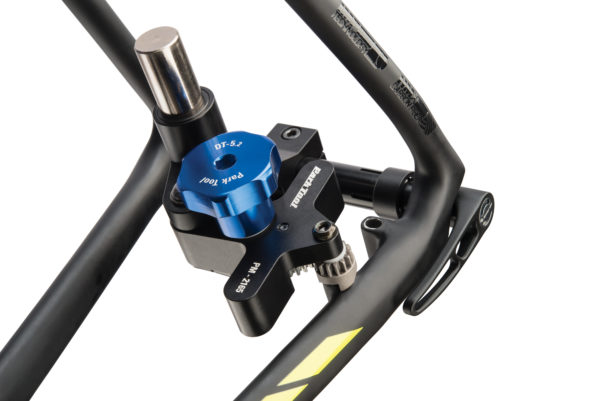 The Park Tool DT-5.2 Disc Brake Mount Facing Set facing a rear flat mount on carbon fiber thru axle bike, click to enlarge