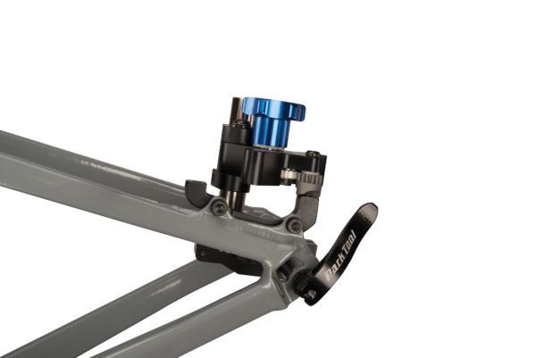 Park Tool DT-5 Disc Brake Mount Facing Set installed on quick-release bike facing post mount adaptor, click to enlarge