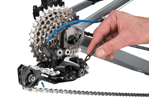 The Park Tool DW-2 Derailleur Clutch Wrench adjusting clutch on Shimano® rear derailleur, click to enlarge