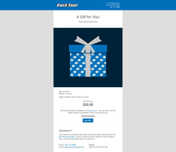 Email containing a Gift card for parktool.com under a gift wrapped in blue Park Tool wrapping paper, click to enlarge