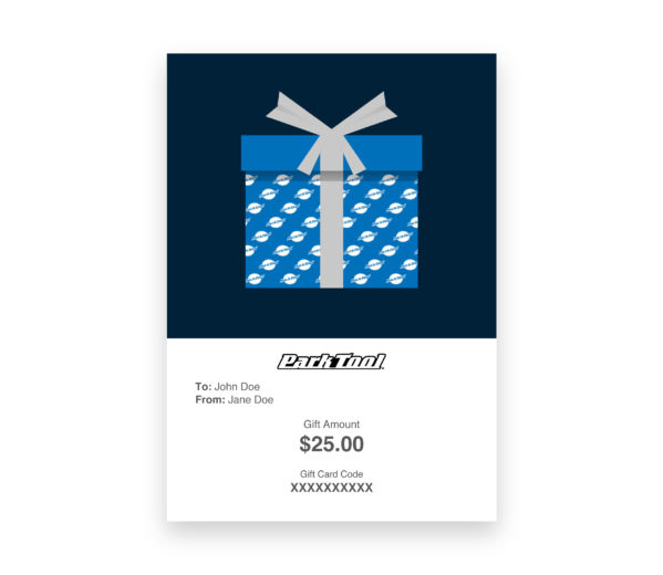 Gift card purchase for parktool.com under a gift wrapped in blue Park Tool wrapping paper, click to enlarge