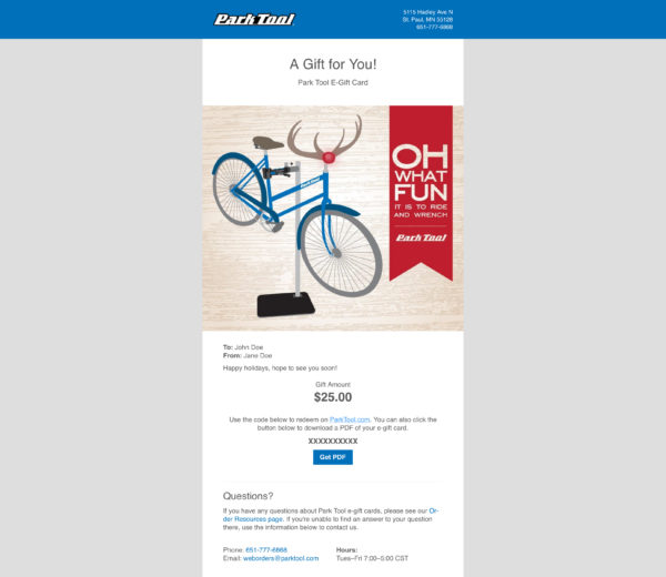 Email with a gift card for parktool.com under an illustration of a bike dressed as Rudolf with a funny saying, click to enlarge