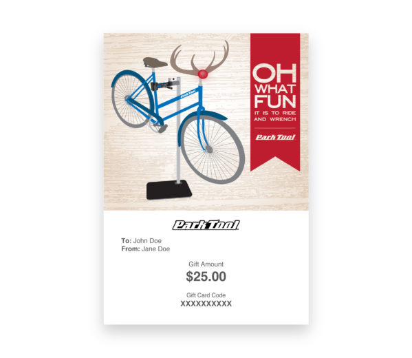 Gift card purchase for parktool.com under an illustration of a bike dressed as Rudolf with a funny saying, click to enlarge