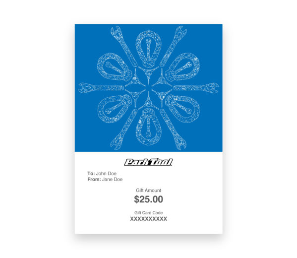 Gift card purchase for parktool.com under a kaleidoscope pattern of bike tools, click to enlarge