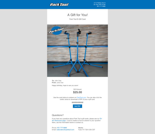 Email containing a gift card for parktool.com under a photo of three Park Tool repair stands, click to enlarge