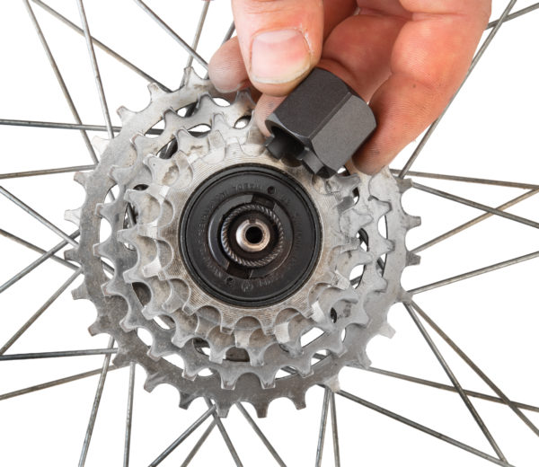 Park Tool FR-2 Freewheel Remover being inserted into Suntour® two-notch freewheel, click to enlarge