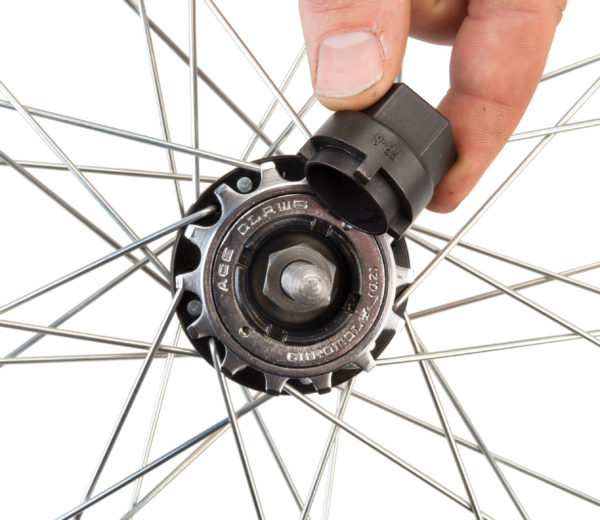 Park Tool FR-8 Freewheel Remover being inserted into flip-flop BMX freewheel, click to enlarge