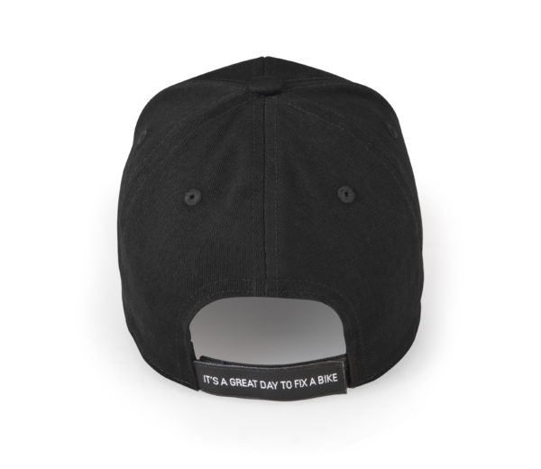 """Back of a black baseball hat with """"Its a great day to fix a bike"""" on adjustment strap, click to enlarge"""