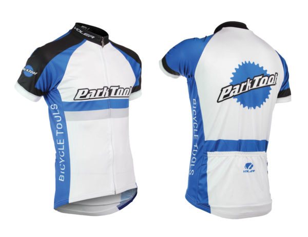 Front and back of Park Tool male racing jersey, click to enlarge