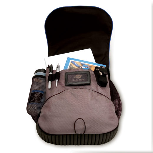 Opened MP-1 Messenger Bag, with laptop, book, water bottle, and pens secured in the bag, click to enlarge
