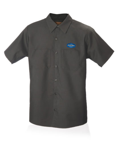 Dark gray collared button up mechanics with Park Tool Logo on chest, click to enlarge