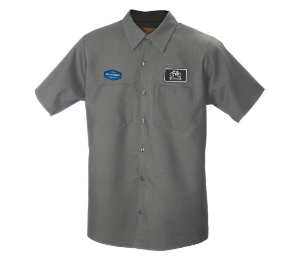 Gray collared button up mechanics with two different Park Tool Logo on each chest, click to enlarge