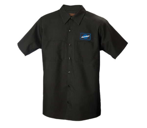 Black collared button up mechanics with Park Tool Logo on chest, click to enlarge