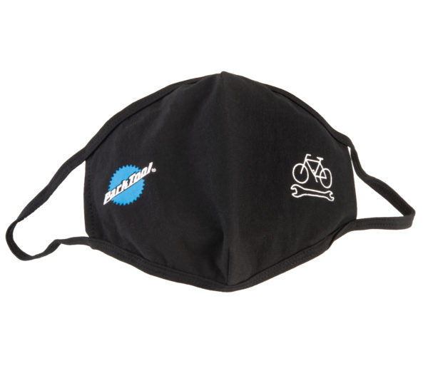 Park Tool MSK-1 Face Mask in black with stacked logo and bike wrench graphic, click to enlarge