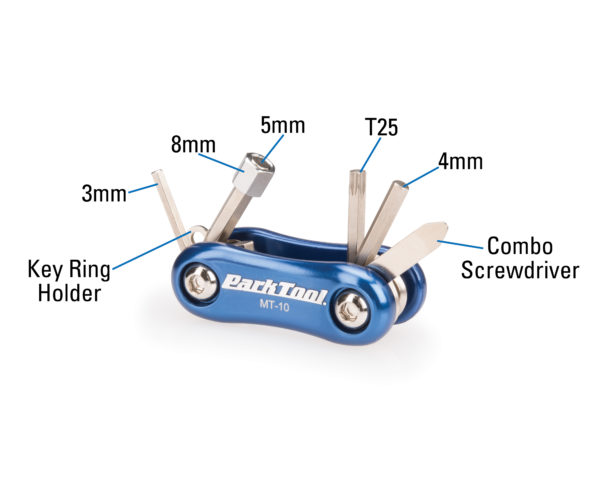The Park Tool MT-10 Multi-Tool labels, click to enlarge