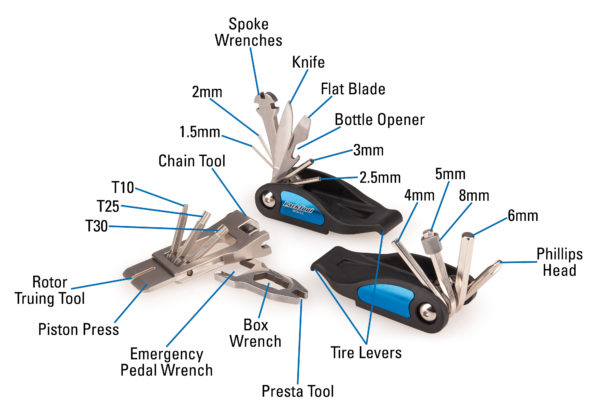 The Park Tool MTB-3.2 Premium Rescue Tool contents measurements, click to enlarge