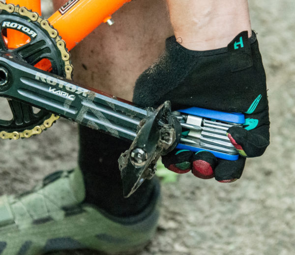 The Park Tool MTB-5 Rescue Tool being used to tighten a pedal on a mountain bike crank arm, click to enlarge