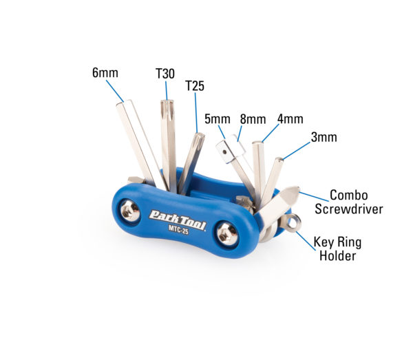 Diagram of contents in the Park Tool MTC-25 Multi-Tool, click to enlarge