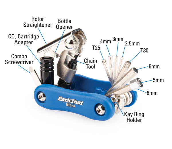 Diagram of contents in the Park Tool MTC-40, Multitool, click to enlarge