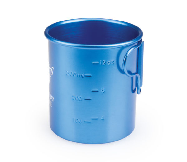 The Park Tool Mug-5 Camp Mug side showing liquid measuring dashes, click to enlarge