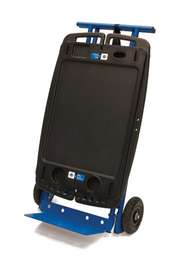 The Park Tool PB-5 Two Wheel Hand Truck Kit for PB-1 Portable Workbench attached to workbench, click to enlarge