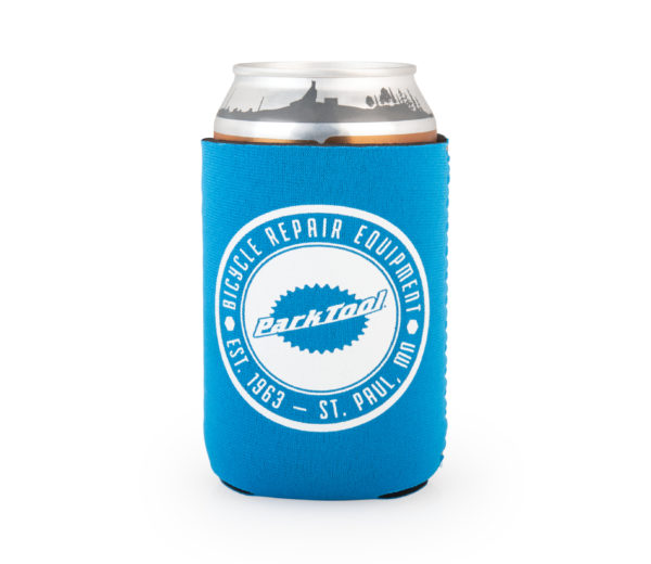 Front of blue Park Tool can cooler with a circular Park Tool logo, click to enlarge