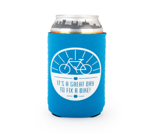 "Backside of the Park Tool can cooler on a can with the words ""It's a great day to fix a bike"", click to enlarge"