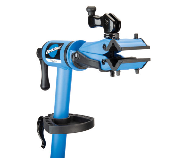 Close up of the clamp and compact tray on PCS-10.2, Deluxe Home Mechanic Repair Stand, click to enlarge
