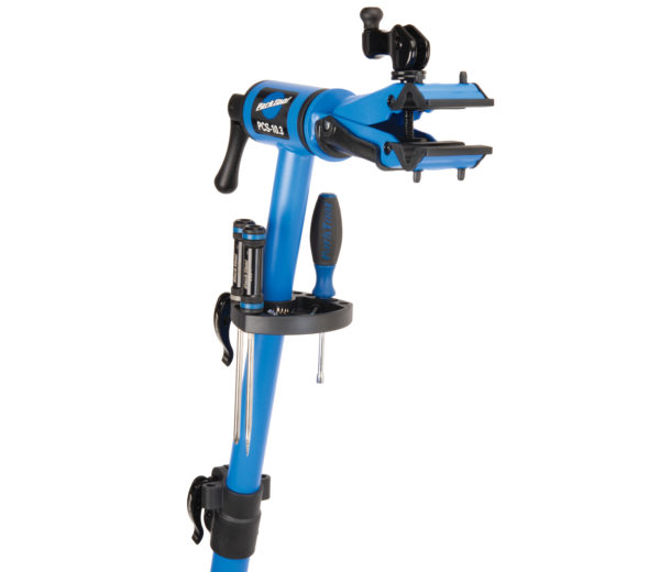 The Park Tool PCS-10.3 Deluxe Home Mechanic Repair Stand top tube with work tray installed, holding tools, click to enlarge