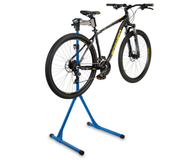 The Park Tool PCS-4-1 Deluxe Home Mechanic Repair Stand with a mountain bike clamped on the seat post, click to enlarge