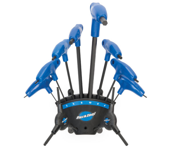 The Park Tool PH-1.2 P-Handle Hex Wrench Set with 3-way wrenches in holder, click to enlarge