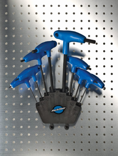 The Park Tool PH-1 P-Handle Hex Wrench Set on pegboard, click to enlarge