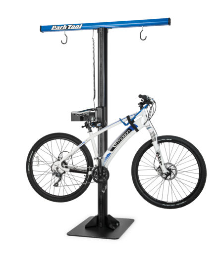 The Park Tool PRS-33 Power Lift Shop Stand with bike mounted, click to enlarge