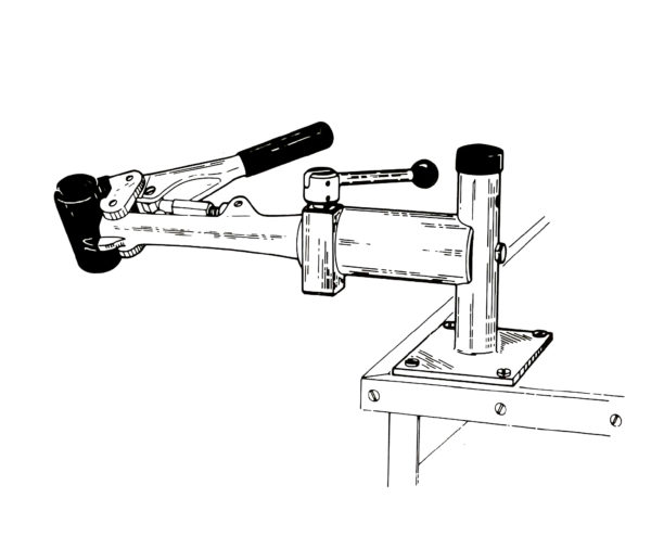 Line drawing of PRS-4 Bench Mount Repair Stand, click to enlarge