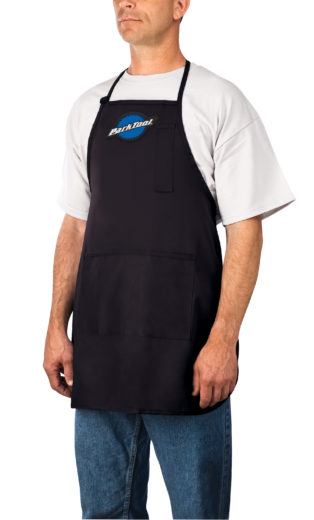 Model wearing the Park Tool SA-1, Shop Apron, click to enlarge