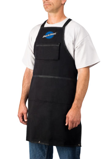 Model wearing the long Park Tool SA-3, Heavy Duty Shop Apron, click to enlarge