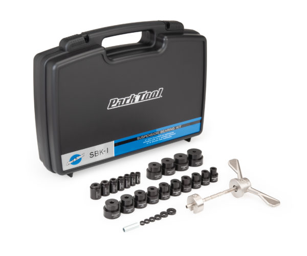 The Park Tool SBK-1 Suspension Bearing Kit shown with included storage case, click to enlarge