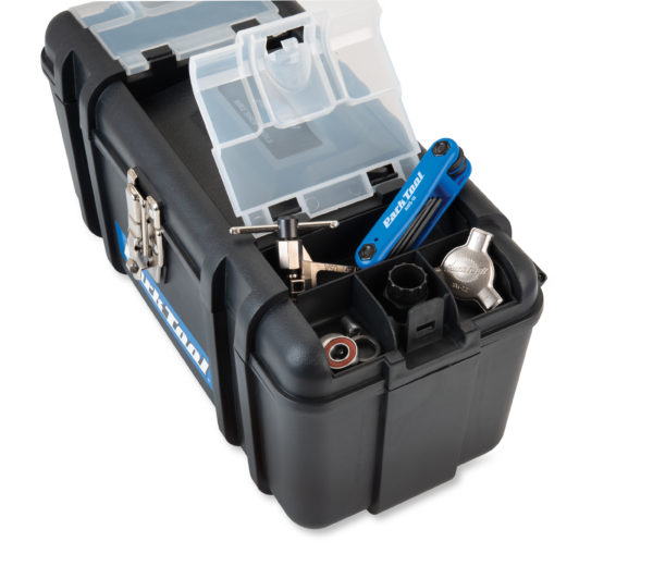 Close-up of Park Tool SK-4 Home Mechanic Starter Kit toolbox storage compartment, click to enlarge