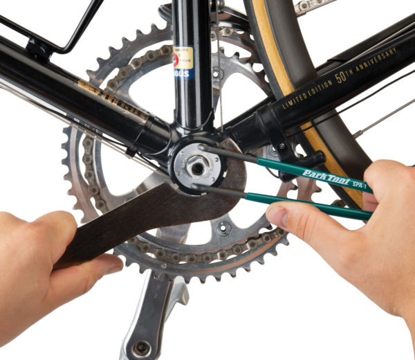 The Park Tool SPA-1 Pin Spanner turning adjustable bottom bracket cup, click to enlarge