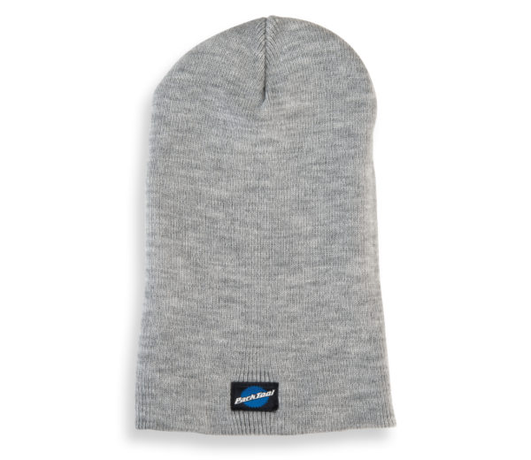 Park Tool STK-1 heather gray beanie hat with small stacked Park Tool logo on bottom, with hem folded down, click to enlarge