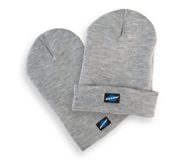 Park Tool STK-1 heather gray beanie hat with small stacked Park Tool logo on bottom, click to enlarge