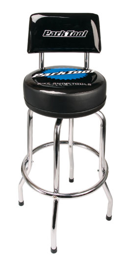 The Park Tool STL-1.2 Shop Stool with STL-3 Shop Stool Backrest Kit attached, click to enlarge