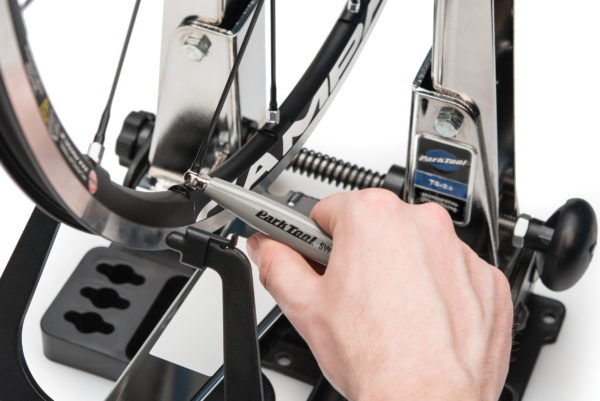 The Park Tool SW-11 Double-Ended Spoke Wrench — Campagnolo® engaged on 5.5mm Campagnolo® nipple, click to enlarge