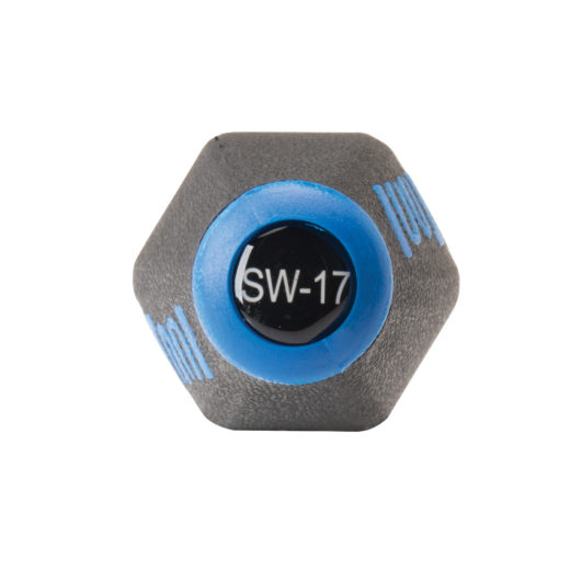 End of Park Tool SW-17 Internal Nipple Spoke Wrench with labeled model number, click to enlarge