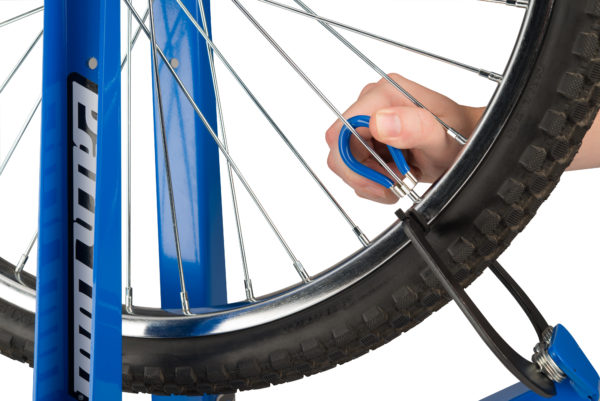 The Park Tool SW-3 Spoke Wrench engaged on spoke nipple, click to enlarge
