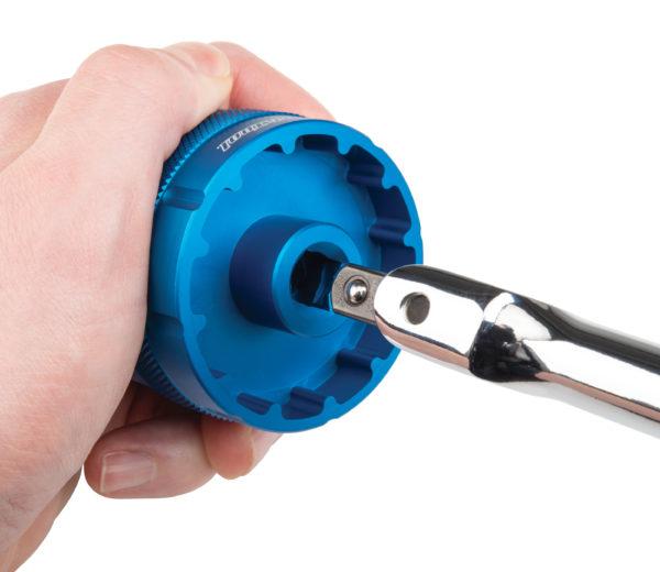 "Park Tool SWB-15 3/8"" Drive Breaker Bar installed in bottom bracket tool, click to enlarge"