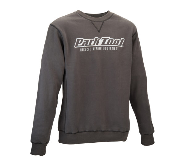 Front of the gray Park Tool Crewneck Sweatshirt, click to enlarge